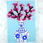 Simple and beautiful cherry blossom art project for kids of all ages. Design a Japanese art vase and fill it with colorful cherry blossoms. Easy spring craft for kids.