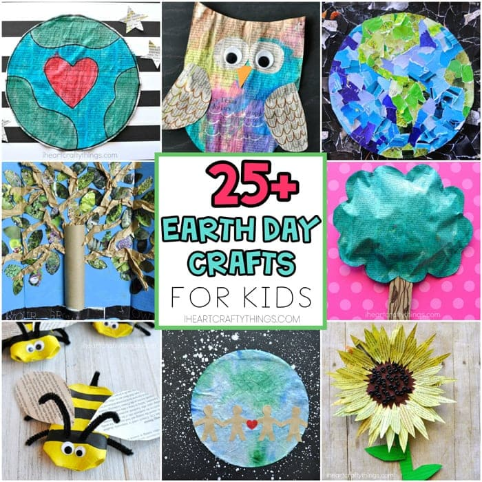 25+ Earth Day Crafts for Kids -Easy craft ideas for kids of all ages using recycled materials like newspaper, cardboard and magazines for Earth Day.