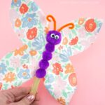 This simple paper plate butterfly craft is a super easy spring craft for kids to make. Fun butterfly craft idea for preschool and kids of all ages.
