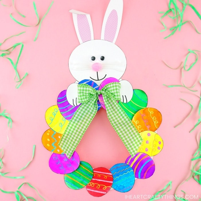 How to Make a Paper Plate Easter Egg Wreath -Easy Easter