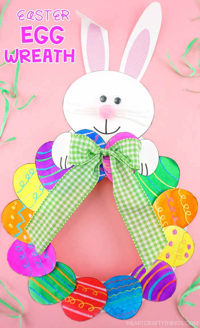 How To Make A Paper Plate Easter Egg Wreath Easy Easter Craft For Kids