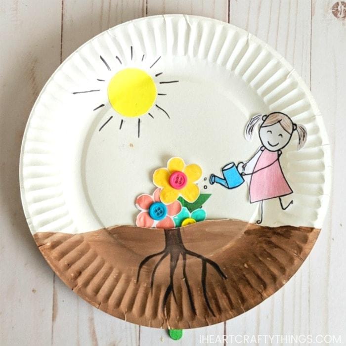 Paper Plate Growing Flower Craft