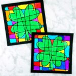 Gorgeous St. Patrick's Day Art Project for kids -Colorful black glue four leaf clover artwork. Craft resembles stained glass art project for kids.