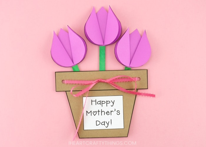 Add glue to the back of the green craft sticks and glue them at the top of the card so the stems are down inside the flower pot.  sc 1 st  I Heart Crafty Things & Mother\u0027s Day Flower Pot Craft -Easy gift for kids to make for Mom!