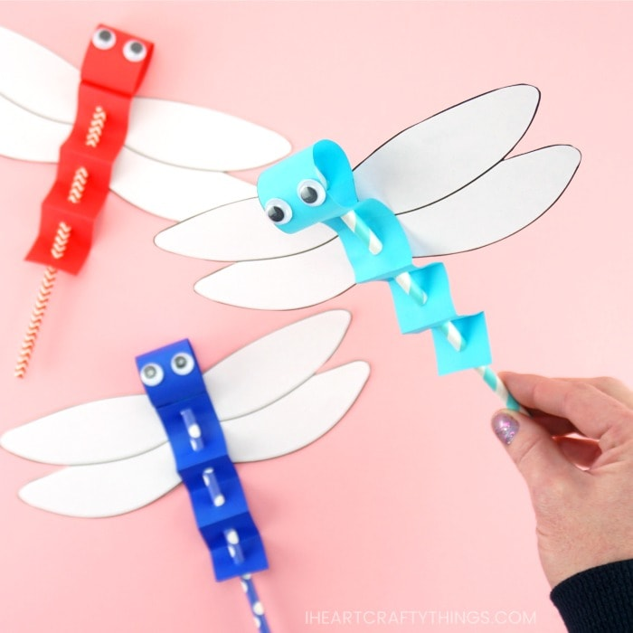 How to Make Paper Dragonfly Puppets