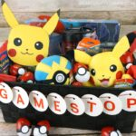 Easy way to build your own Pokemon Easter basket for kids! Free template for DIY Pikachu card and DIY Pokeball Easter eggs tutorial.