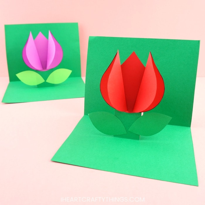 How To Make A Pop Up Flower Card Easy Spring Tulip Craft For Kids