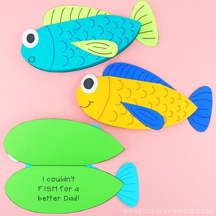 This Father's Day fishing card is so cute and easy for kids to make! Perfect Father's Day gift for a dad who loves to fish. Fun Father's Day card idea.
