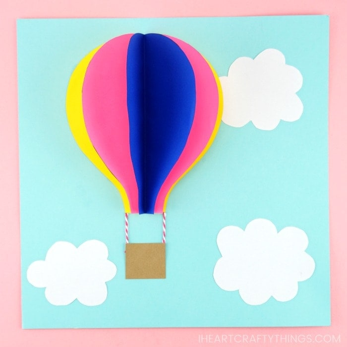Paper Hot Air Balloon -Easy, colorful summer kids craft!