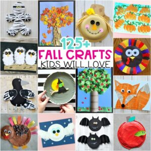 Fall crafts for Kids -Fun and easy arts and crafts projects. Pumpkin crafts, fall art projects, Halloween crafts, fall leaf crafts for kids of all ages.
