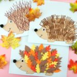 Three fun and easy ways to use our free hedgehog template to create cute hedgehog crafts for kids. Leaf hedgehog, fork painting and ruler lines fall crafts.
