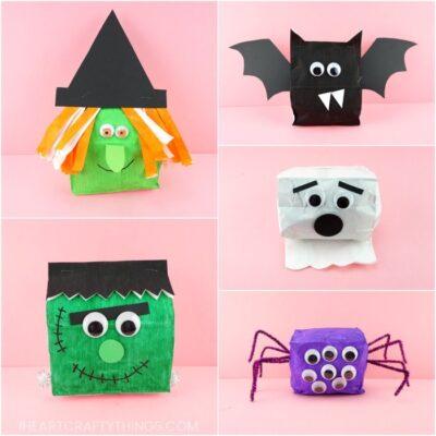 Paper Bag Halloween Crafts -Cute Witch, Bat, Frankenstein, Spider and Ghost!