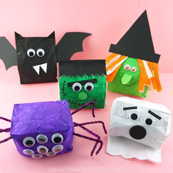 Paper Bag Halloween Crafts Cute Witch Bat Frankenstein