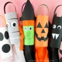 Fun and easy DIY Halloween Windsocks. Kids can make a bat, witch, ghost, mummy or jack-o-lantern with our free templates. Simple Halloween crafts for kids.