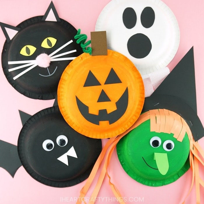 5 fun and easy Halloween craft ideas for kids! Learn how to make a bat, witch, black cat, ghost and Jack-o-Lantern with a paper bowl and some creativity!