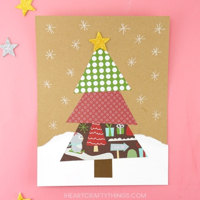 paper scrap christmas tree craft