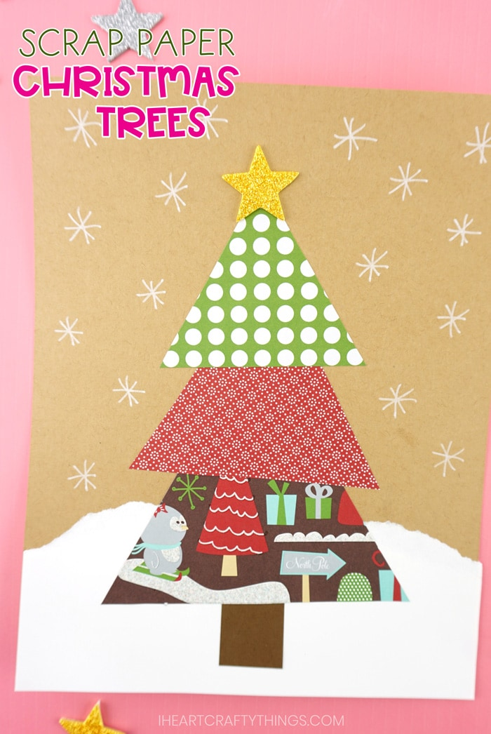 Easy Paper Scrap Christmas Tree Craft For Kids Free Template