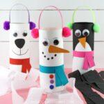 Snowman, penguin and polar bear winter windsocks craft for kids.