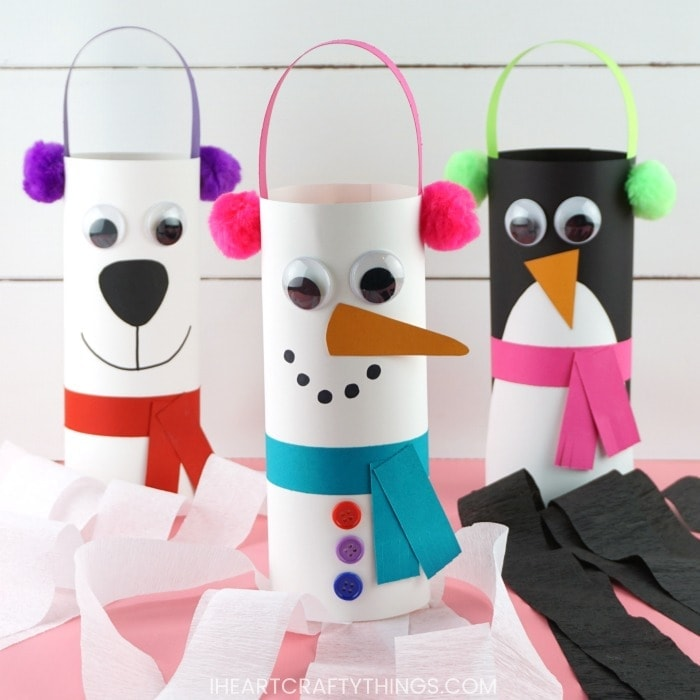 Snowman, penguin and polar bear winter windsocks craft for kids.