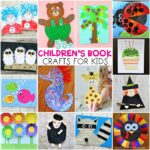 collage image of 14 children's book crafts that go with popular and classic books.