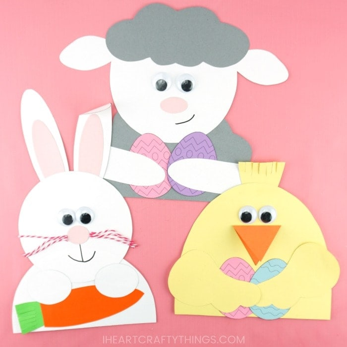 bunny, lamb and chick easter animal crafts