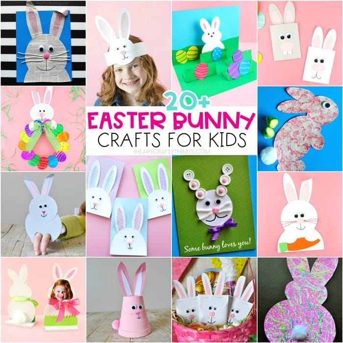 collage image of easter bunny crafts for kids