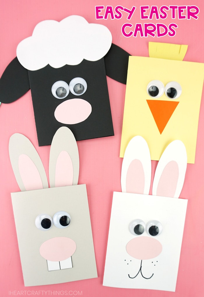 Easy Easter Cards For Kids Make A Bunny Chick And Lamb Easter Card