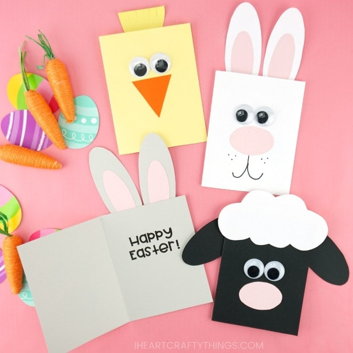 bunny, chick and lamb easter cards for kids to make