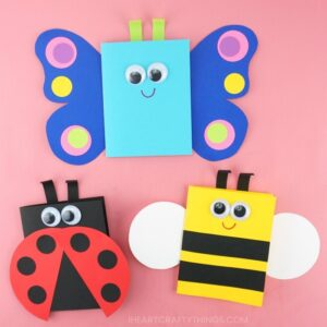 butterfly, ladybug and bee spring cards for kids to make on a pink background
