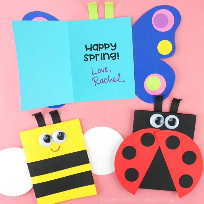 spring cards for kids to make out of paper on a pink background