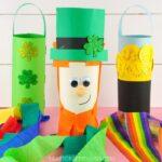 leprechaun, pot of gold and shamrock St. Patrick's Day windsocks