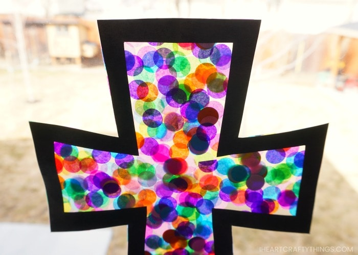 close up image of a stained glass cross craft