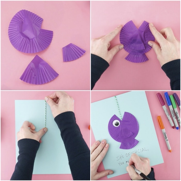 four image collage showing tutorial steps for how to make a fathers day fish card
