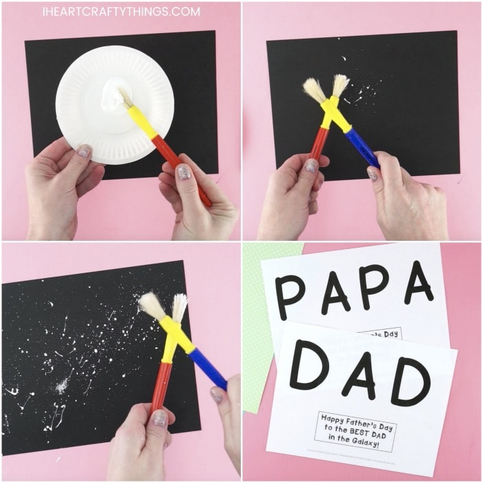 square collage image of four photos showing how to make a father's day constellation craft