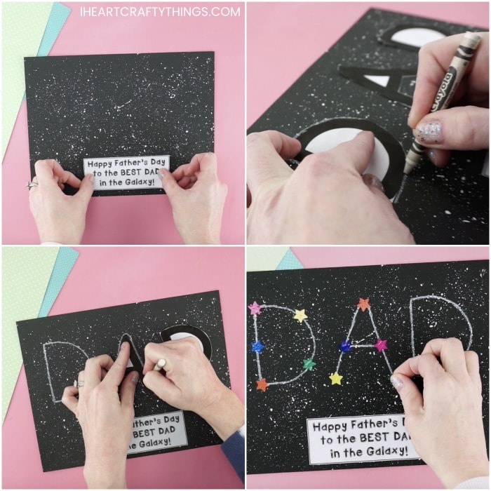square photo collage with four photos showing how to make a Father's Day constellation craft