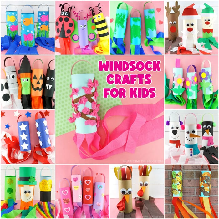 13 diy windsock crafts in a square collage image