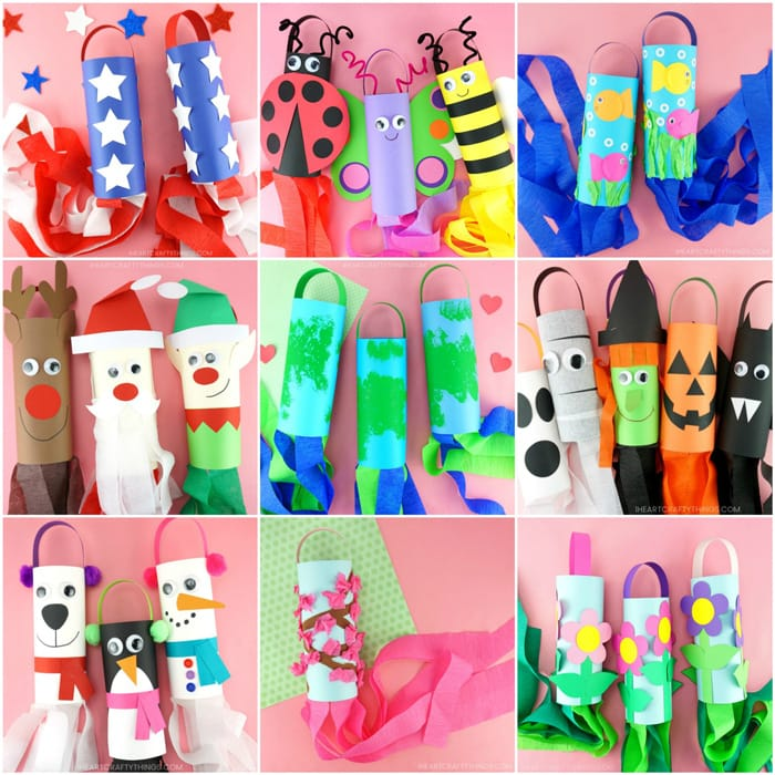 Nine windsock crafts in a square collage image.