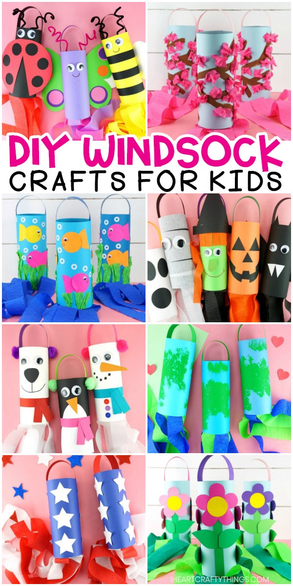 Horizontal collage image showing 8 different types of windsock crafts for kids to make.