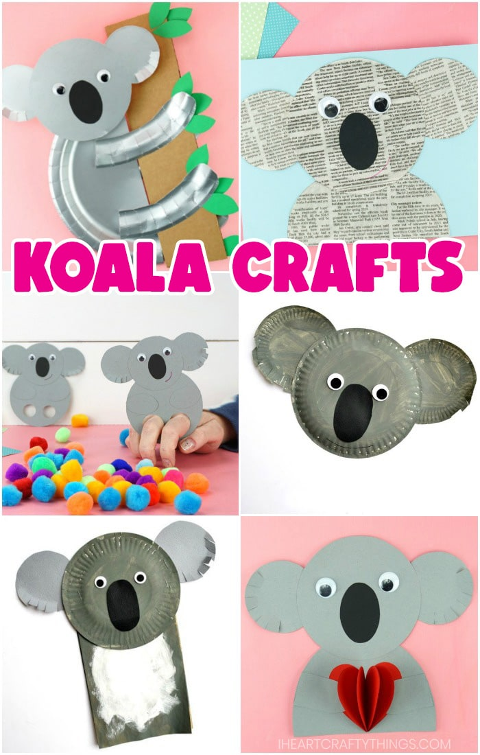vertical collage image featuring six koala crafts for kids made out of different materials