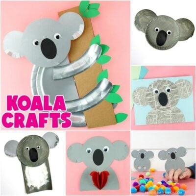 square collage image featuring six easy koala crafts for kids to make