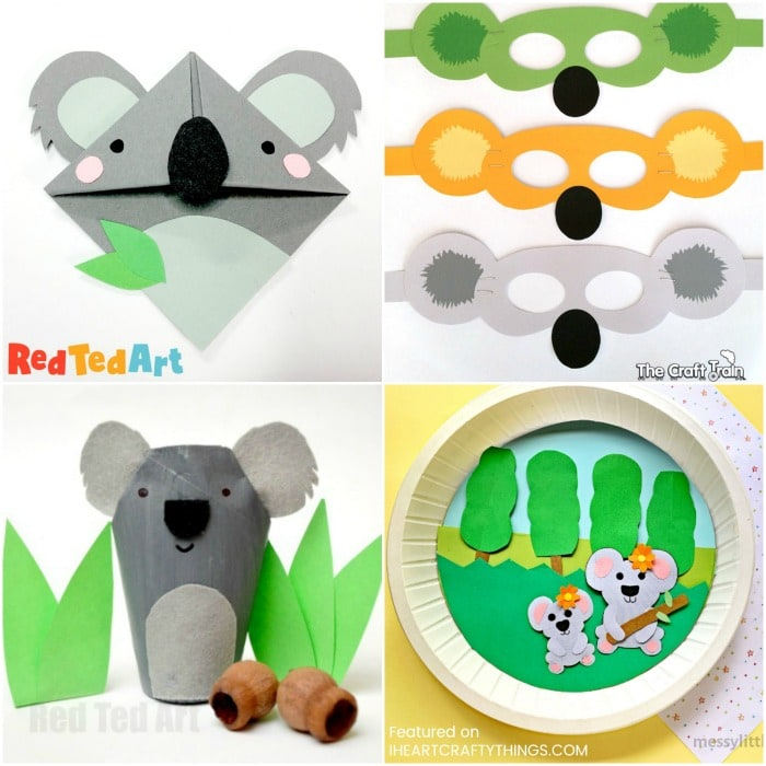 Square collage image of four different types of koala crafts for kids
