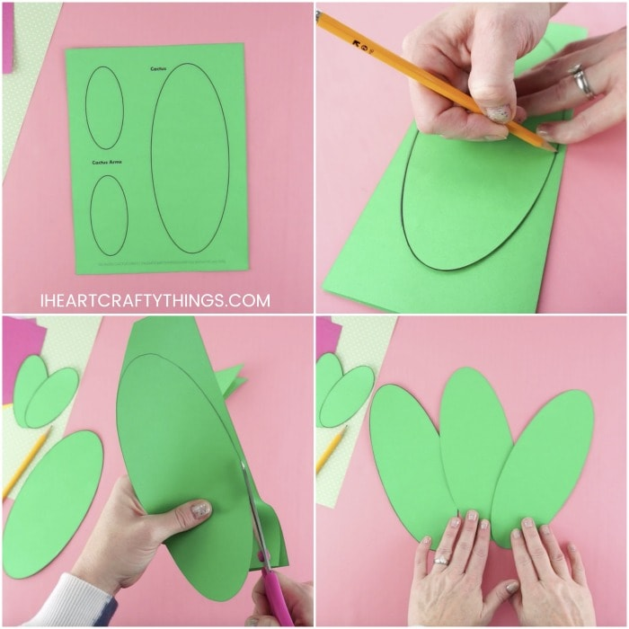 four photo square collage image showing steps for how to make a paper cactus craft