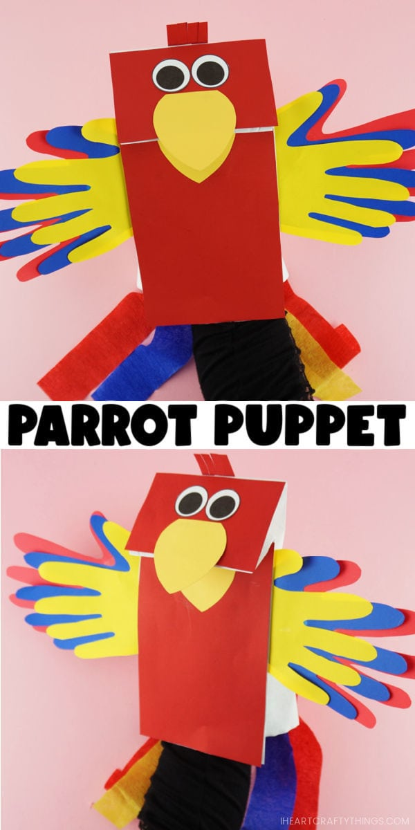 "Vertical two image collage with both images showing a hand inside the parrot puppet with the words ""Parrot Puppet"" in the center between the two images."