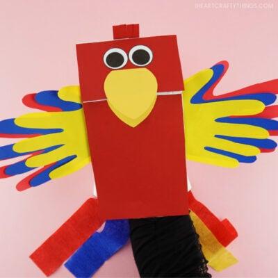 Paper Bag Parrot Puppets