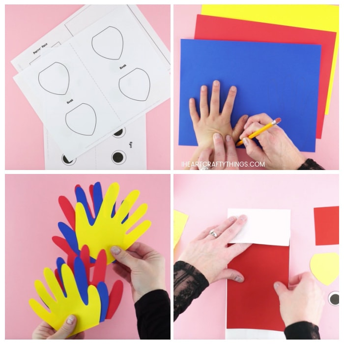 Four image collage showing printed out parrot template, adult tracing child's hand on colored paper, the cut out handprints and adult gluing parrot body onto paper lunch bag.