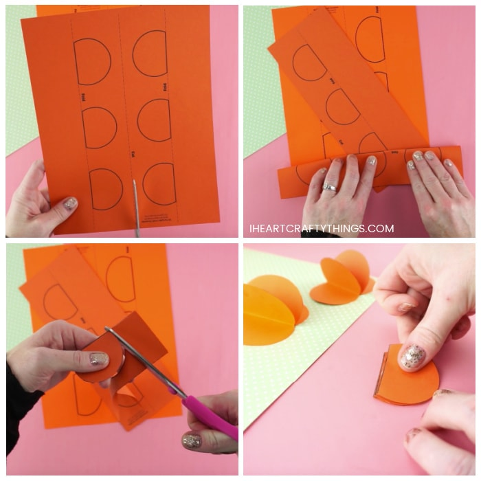 Four image collage showing adult folding and cutting out the pumpkin craft template.