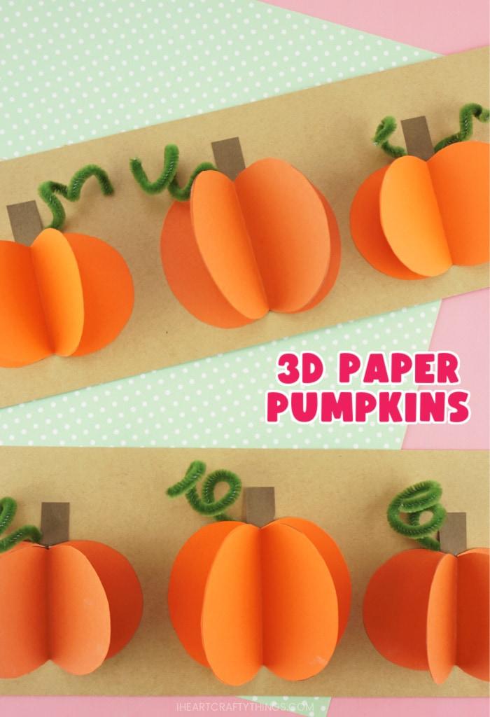 Vertical close up image of 3D paper pumpkins craft.