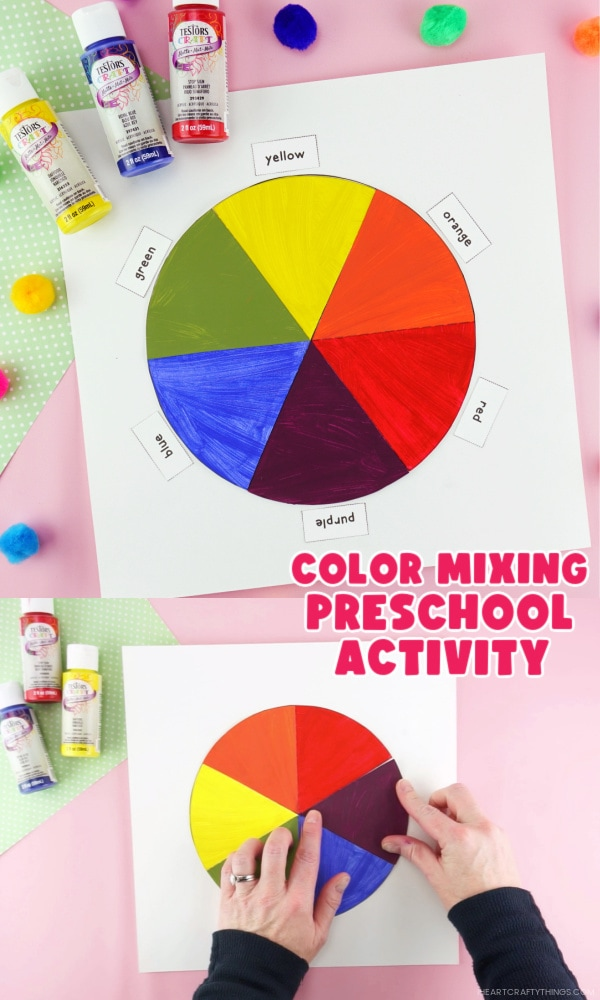 "Two image vertical collage with top picture showing completed color wheel craft and bottom photo showing adult gluing pieces onto color wheel. Words ""Color Mixing Preschool Activity"" in the center between the two photos."