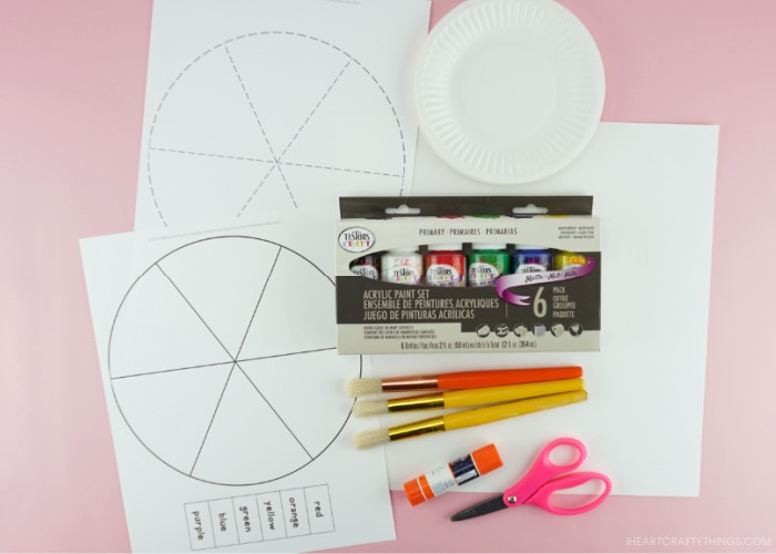 Photo of supplies needed for the color mixing activity
