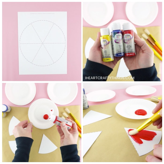 Four image collage showing the printed out color wheel template, an adult pouring a small amount of red paint on a paper plate and painting one of the color wheel triangle sections with red paint.